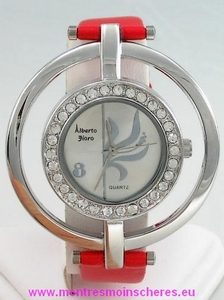 Montre femme ronde strass rouge