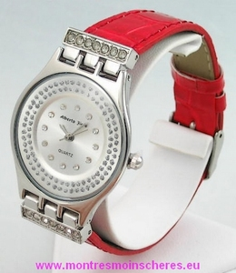Montre femme extraplate strass vernis croco rouge