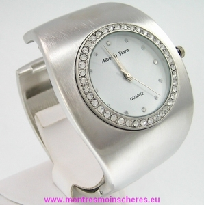 Montre femme strass bracelet clip acier métal brossé