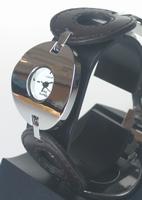 Montre femme ronde bracelet acier et cuir noir