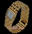 Montre femme bracelet  extrasouple perle acier doree